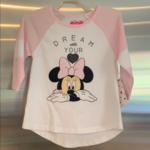 Minnie Mouse 3/4 sleeve tee